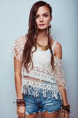 Beautiful young hippie woman