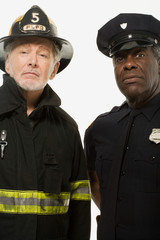 Portrait of a firefighter and a police officer