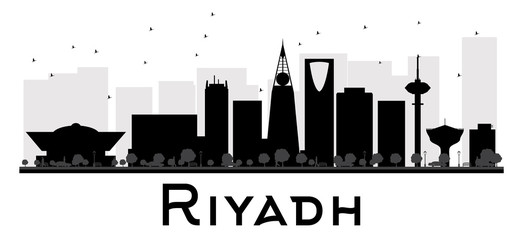 Riyadh City skyline black and white silhouette. Some elements have transparency mode different from normal
