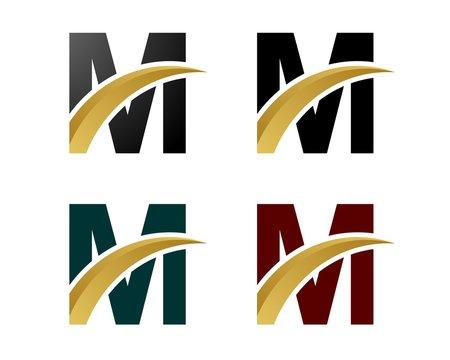M Letter Logo Gold Swoosh