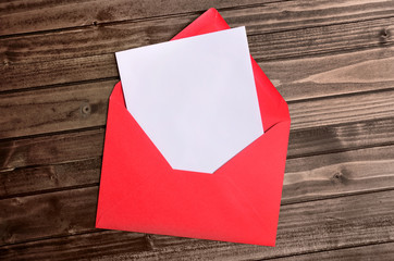 Red envelope with empty paper