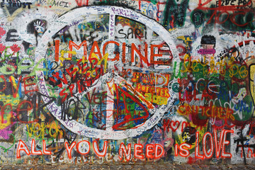 Colourfull peace graffiti on wall