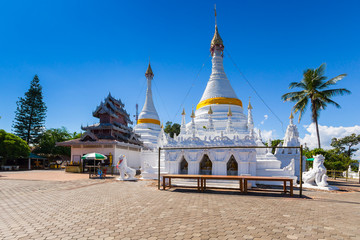 White unique pagoda in Wat Phra That Doi Gongmoo landmark