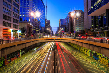 Fototapete - Paulista Avenue at twilight in Sao Paulo