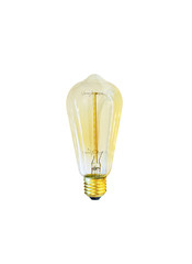 amber edison light bulb, isolated on white background