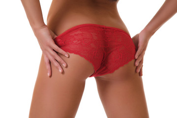 Women's sexy ass in a red underwear.