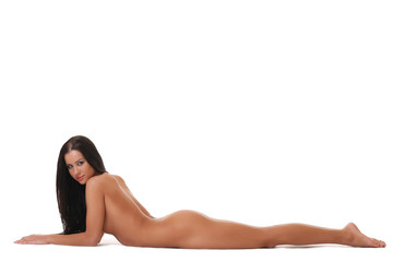 Sexy tanned naked girl lying