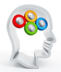 Multi-colored gears inside human head silhouette