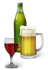 A mug of beer, a bottle of beer, a glass of red wine