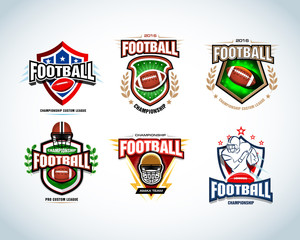 American football logo templates, badge, crests, t-shirt, label, emblem, t-shirt, icons. Football helmet, player. Vector logotype .