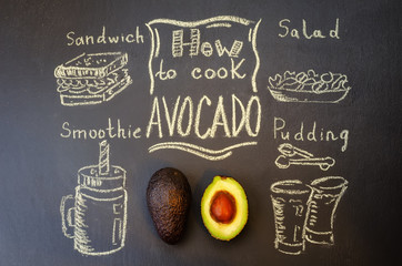 how to cook avocado with avocado on the chalkboard. toning. selective Focus