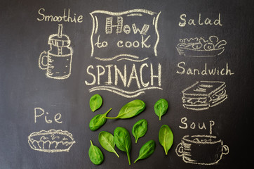 how to cook spinach with spinach on the chalkboard. toning. selective Focus