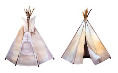 Watercolor teepee. Boho syle images.Ethnic america.