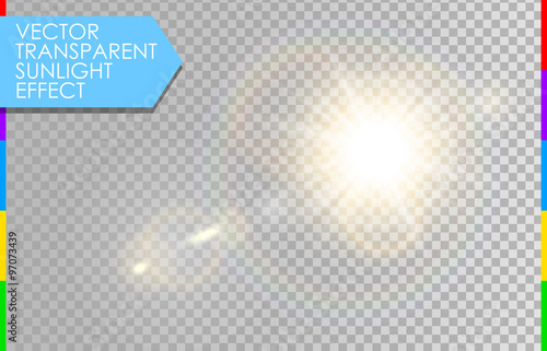 Vector Transparent Sunlight Special Lens Flare Light Effect Sun With Rays And Spotlight