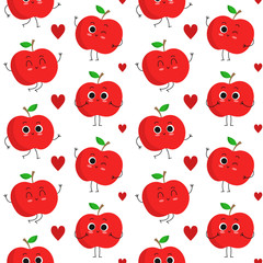 Apples, vector seamless pattern