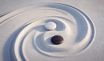 Wall Mural - Yin Yang Motiv  - Steine im Sand