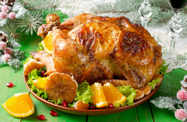 Christmas roast chicken with oranges
