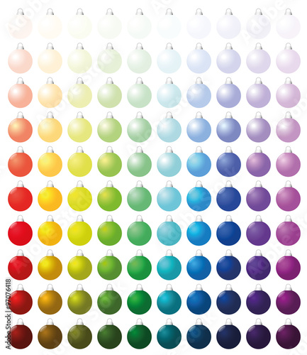 christmas balls exactly one hundred pieces sorted like a color chart from very bright to. Black Bedroom Furniture Sets. Home Design Ideas