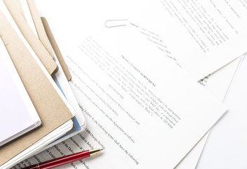 Paper Files on Desk.