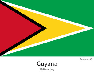National flag of Guyana with correct proportions, element, colors