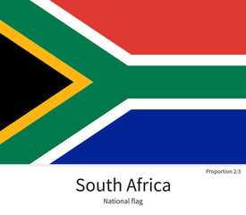 National flag of South Africa with correct proportions, element, colors
