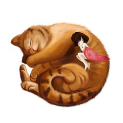 Illustration: The Big Cat Sleeps into a Ball and the Little Girl Sleeps with him Together. Realistic Fantastic Cartoon Style Wallpaper / Scene / Background / Card Design.