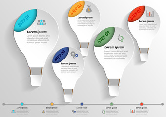 Infographic banners Templates.Vector Hot Air Balloon
