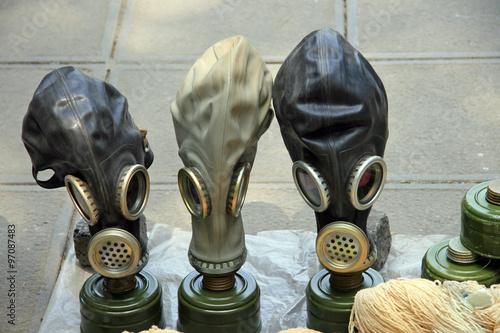 Gas masks / Three old gas mask at a flea market Tbilisi
