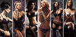 Different fashion models posing in sexy underwear. Beautiful lingerie concept.