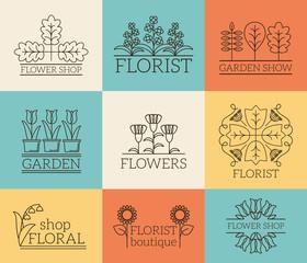 Wall Mural - Gardening and floristry logos