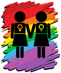 Lesbians with rainbow background