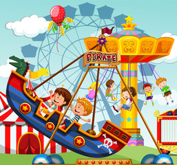 Children riding on rides at the funfair