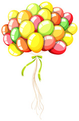 Coloful balloons with green ribbon