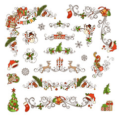 Set of Christmas ornate page decorations and dividers.
