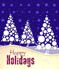 Colorful holidays postcard with christmas trees in cyan colors