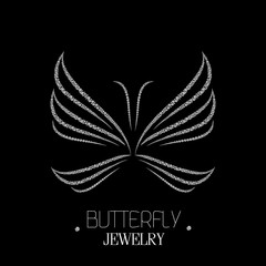 Beautiful luxury butterfly made of diamonds
