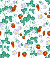 Vector hand drawn seamless strawberry pattern.