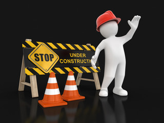Under construction sign and worker. Image with clipping path