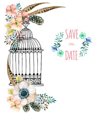 Printed roller blinds Birds in cages Watercolor card with bird cage and flowers.
