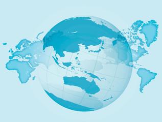 世界地図と地球