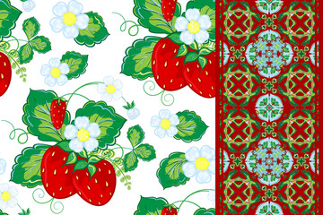 Set of strawberries seamless hand drawn vector pattern and seamless border or ribbon, band, tape