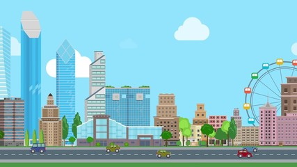 030 Flat Cartoon Panoramic City Day Looped Animated Background Business Center And Historic Skyscrapers With Road