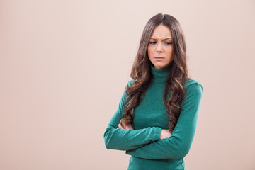 Portrait of displeased and offended woman