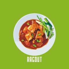 ragout with meat in a white plate. Vector illustration