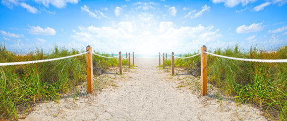 Poster Beach Path of sand going to the beach and ocean in Miami Beach Florida , on a beautiful summer morning with blue sky