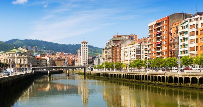 View of  Ibaizabal river. Bilbao, Spain