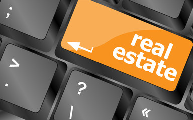Real Estate concept. hot key on computer keyboard with Real Estate words, vector illustration