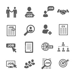 black job search icons set.