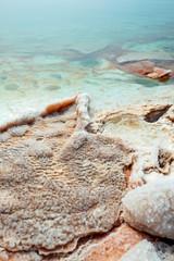 Salt at the Dead Sea beach. Jordan.