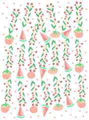 Berry branches-tomatoes-watermelons with polka dots-watercolor i